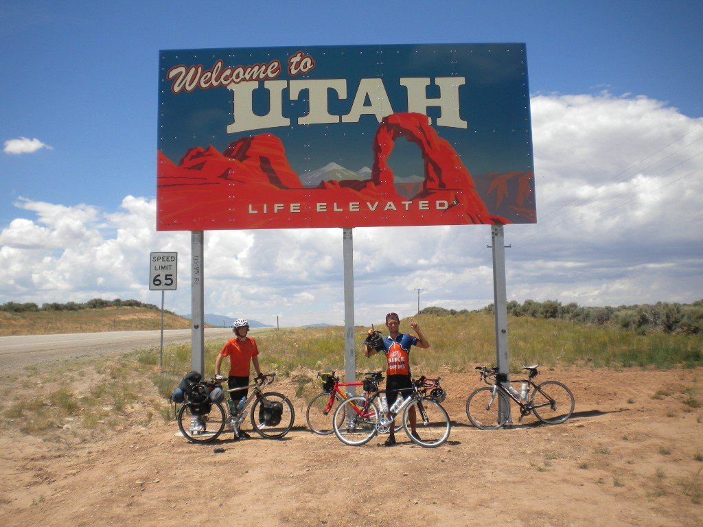 Me crossing into Utah from Colorado, and (right) Geordie from BUSMS.